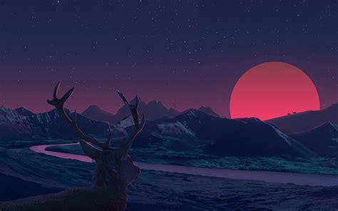 2k Anime Wallpapers - deer staring at sunset anime hd 2k wallpaper
