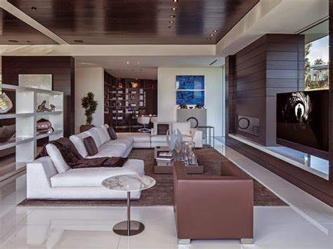 mansion living room with tv 1201 laurel way cliff view luxurious modern mansions in Modern