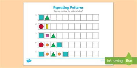 repeating patterns worksheet foundation stage