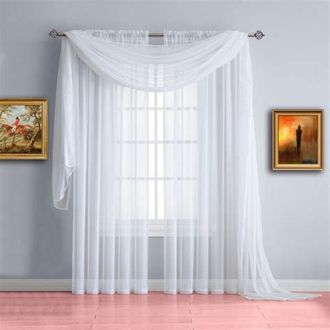 Drapes Designs by Warm Home Designs White Window Scarf Valance Sheer White