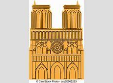 Vecteurs de paris, notre, de, isolé, blanc, cathédrale
