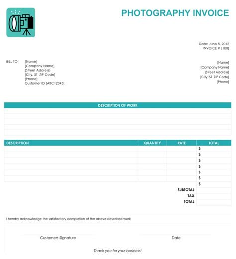 photography invoice template photography invoice
