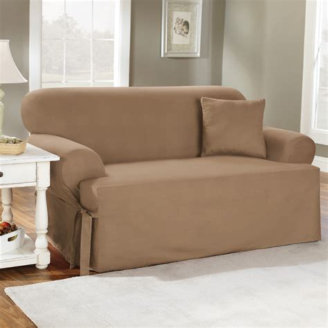 brown fabric slip covers for sofa with single cushion of