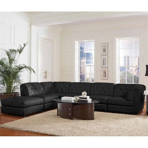 Coaster Quinn Transitional Modular Leather Sectional Sofa