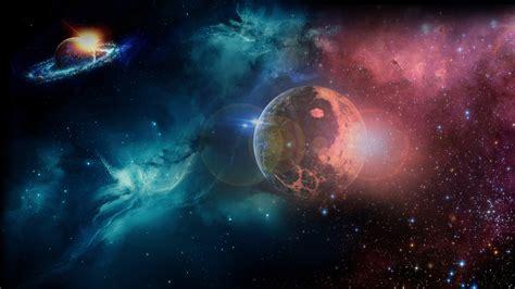 full hd wallpaper planet shine nebula blue desktop