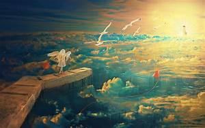 Anime, Fantasy, Art, Seagulls, Kites, Wings, Clouds, City, Lighthouse, Sunset, Rooftops, Horizon