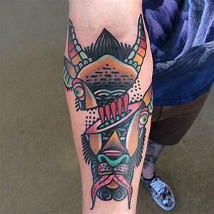 Goat head by Mario Teide @ Tattoo City, SF CA : tattoos