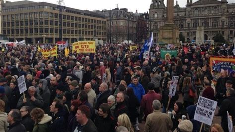 Update On Bedroom Tax 2015 by Thousands Protest Against Bedroom Tax In Glasgow Itv