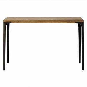 Metal And Solid Mango Wood Console Table W 120cm