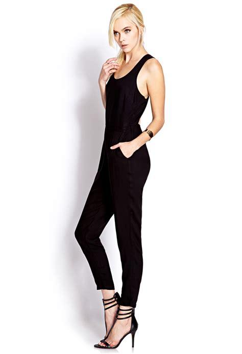 jumpsuit forever 21 lyst forever 21 posh jumpsuit in black