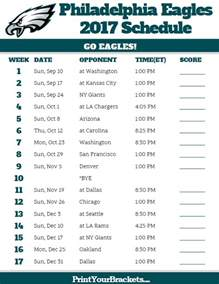 2017 NFL Eagles Schedule Printable