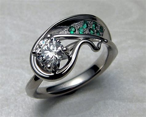 white gold emerald ring asymmetrical free form engagement ring with and