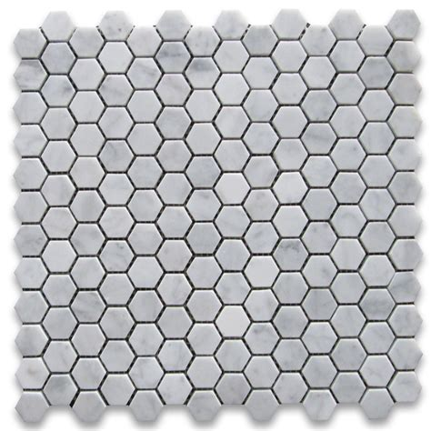 carrara white 1 inch hexagon mosaic tile honed marble