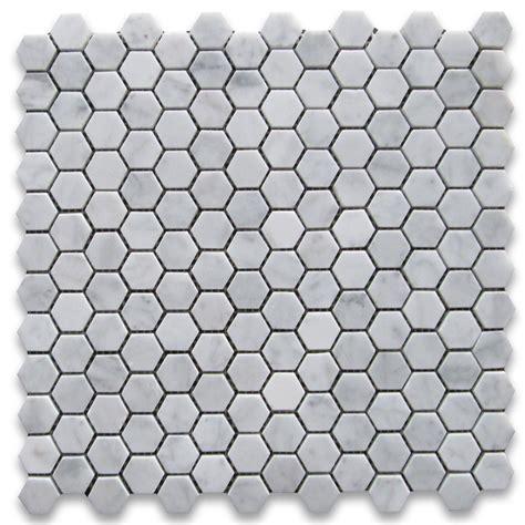 Carrara Marble Hex Tile Floors by Carrara White 1 Inch Hexagon Mosaic Tile Honed Marble