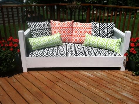 repurposed twin bed    outdoor sofa