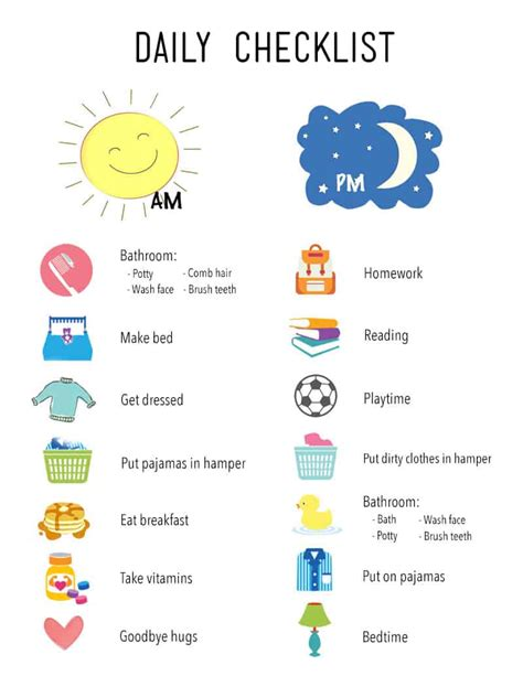 printable daily checklist  kids