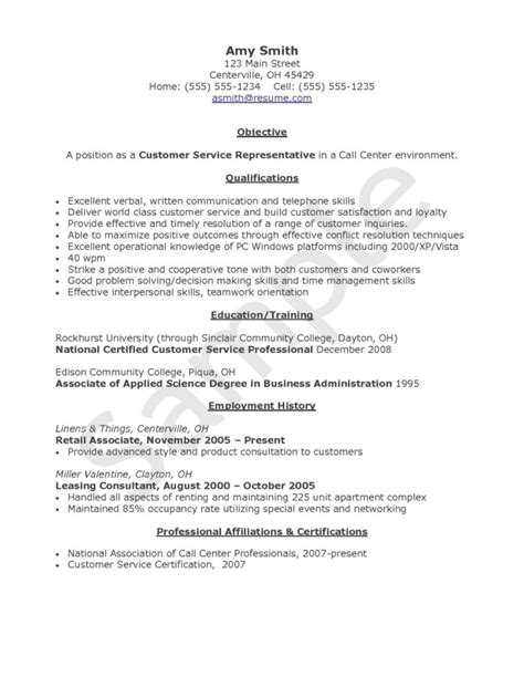 Resume Objective For Call Center by Resume Exles For Call Center Customer Service Resume