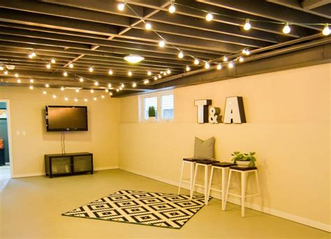 hang string lights unfinished basement ideas 9