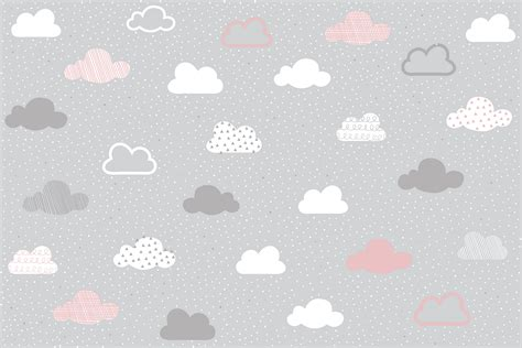 Pink and Grey Clouds Pattern Wall Mural   Murals Wallpaper