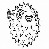 Porcupine Coloring Fish Puffer Pages Colouring Drawing Line Clipart Printable Getcolorings Clipartmag Library Angel Porcupinefish sketch template