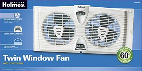 holmes twin window fan with comfort control thermostat holmes hawf2030 dual blade twin window fan with thermostat
