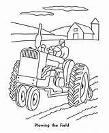 Tractor Coloring Farm Pages Plowing Combine Drawing Plow Deere John Number Ausmalbilder Printable Traktor Cartoon Drawings Sketch Plough Kinder Malvorlagen sketch template