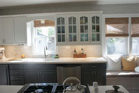 grey cabinets white backsplash remodelaholic gray and white kitchen makeover with 137 | kitchen makeover with hexagon tile backsplash and painted gray and white cabinets featured on Remodelaholic