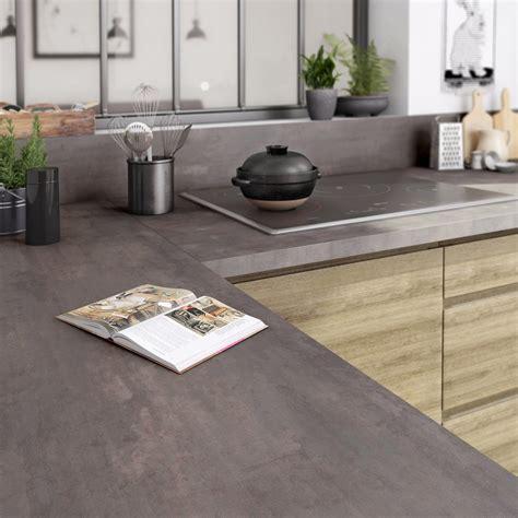 leroy merlin cuisine exterieure plan de travail stratifié effet acier trempé mat l 315 x p
