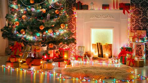 xmas tree  fireplace hd wallpaper wallpaper studio