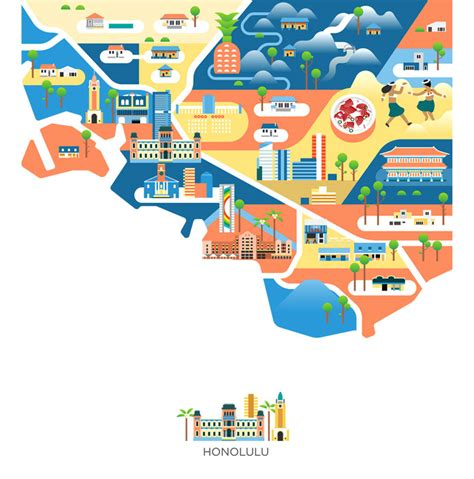 cities  america map illustrations  jing zhang