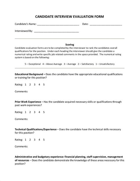 FREE 9+ Interview Evaluation Form Examples in PDF | Examples