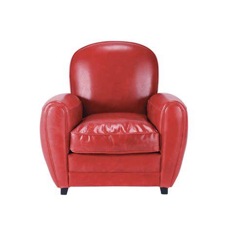 fauteuil cuir rouge vintage oxford maisons du monde