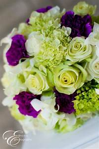 purple, green and white bridal bouquet (roses, hydrangeas ...