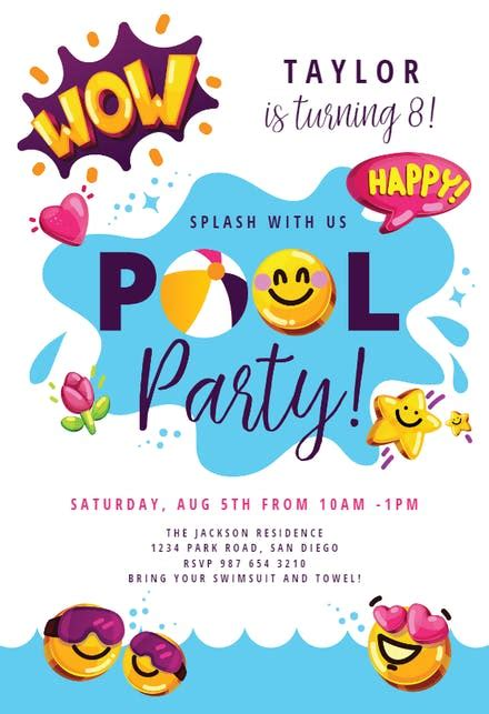 pool party invitation templates   island