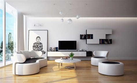 Black and white living room furniture with round coffee