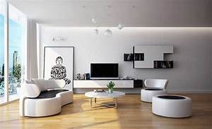 Black and white living room furniture with round coffee ...