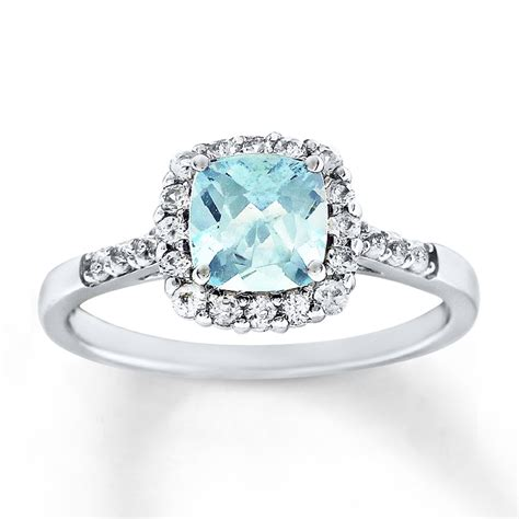 aquamarine ring lab created sapphires sterling silver  kayoutlet