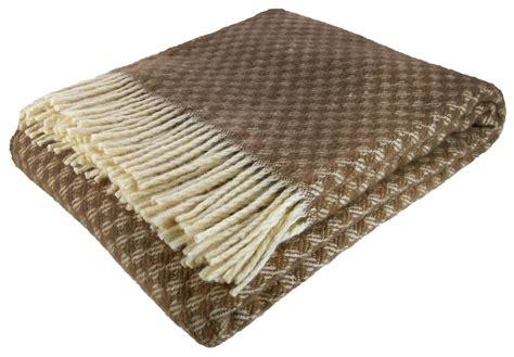 100% New Zealand Wool Throw Plaid Wool Blanket Bedspread 55