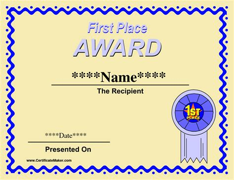 5 Award Certificates Template 1st Place Certificate Template Free