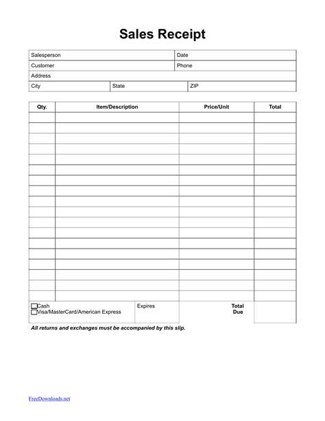 Sales Receipt Template Itemized Sales Receipt Template Pdf Rtf