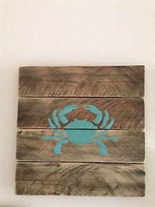 Beach decor rustic coastal chic pallet wall art crab