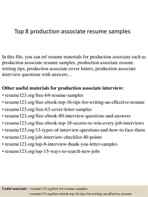 top 8 production associate resume sles