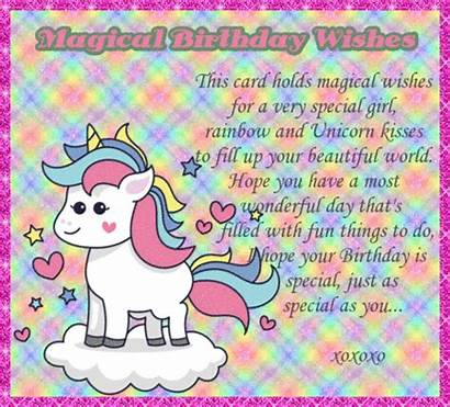 Unicorn Birthday Wishes Magical Card Greetings Cards