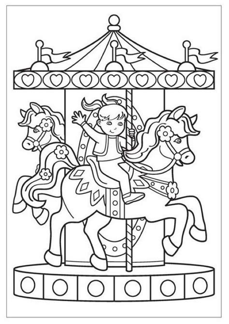 Free Carousel Coloring Pages Collection | Coloring pages