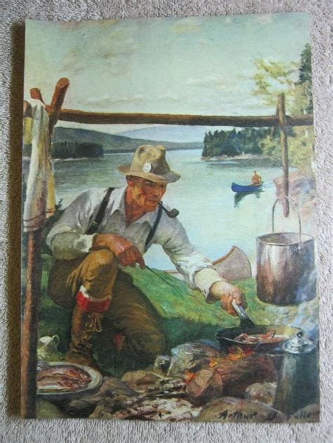 vintage camping  lake fisherman cooking arthur