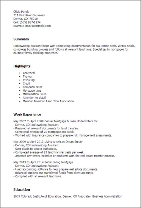 Cover Letter Exles With No Experience In Field by Mortgage Resume Underwriter