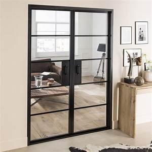 Bloc porte laquee noir chloe artens h204 x l146 cm for Porte de garage coulissante et porte d interieur double vantaux