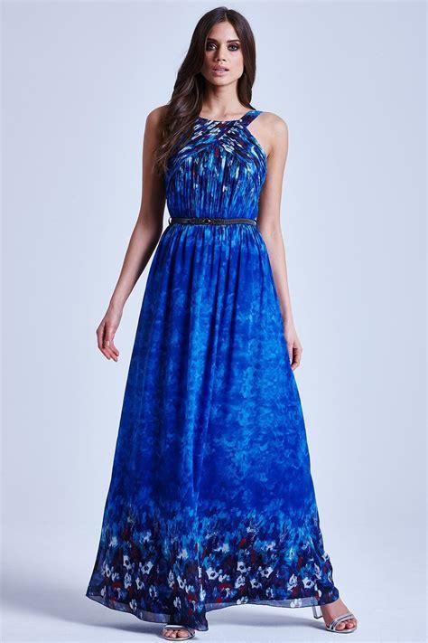 blue water paint floral maxi dress   mistress uk