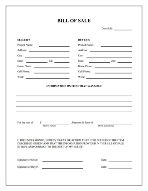 bill ofsale general bill of sale form free download create edit fill