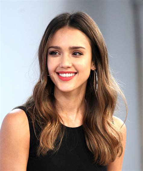 Jessica Alba Long Wavy Casual Hairstyle Brunette Hair Color